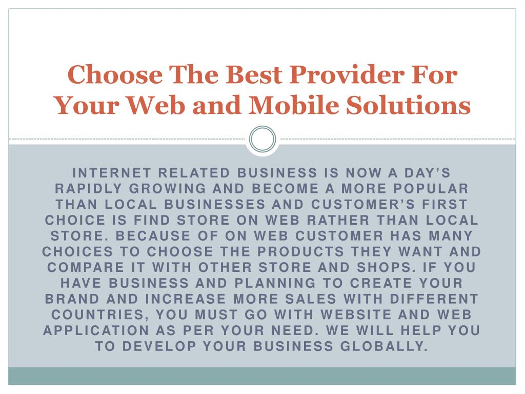 choose the best provider for your web and mobile solutions l.