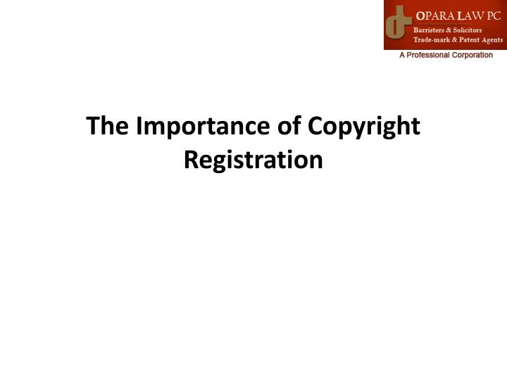 the importance of copyright registration n.