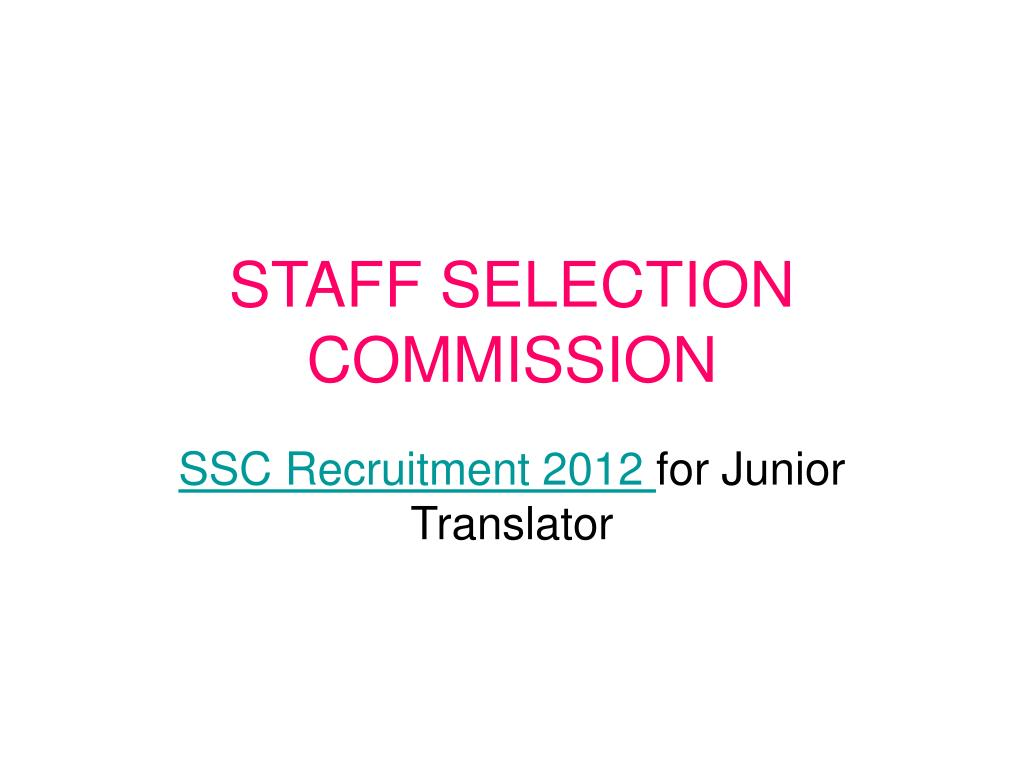 staff selection commission l.