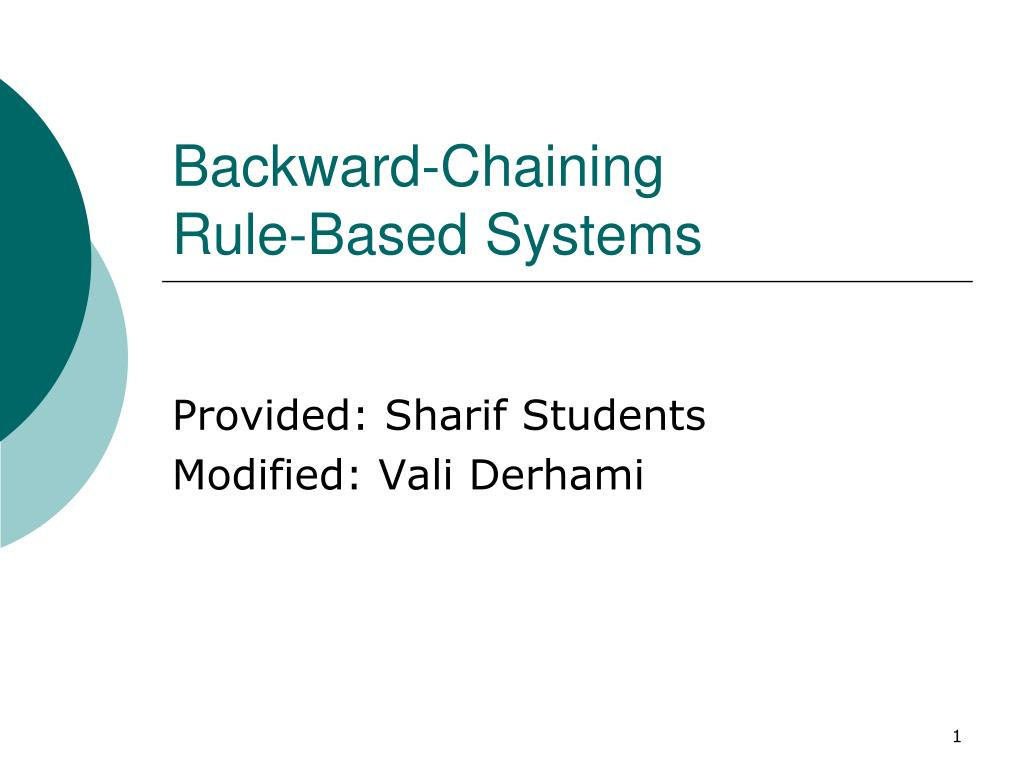 backward chaining rule based systems l.