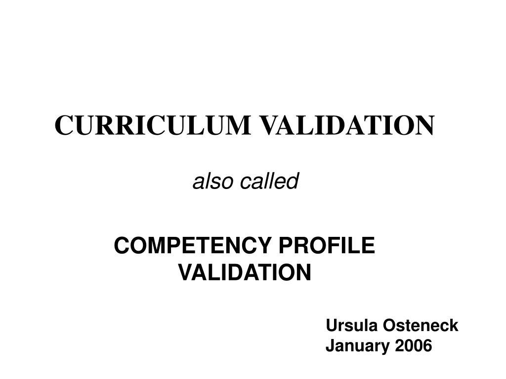 curriculum validation l.