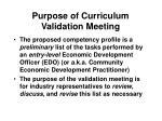 purpose of curriculum validation meeting