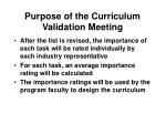 purpose of the curriculum validation meeting