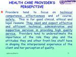 health care provider s persepctive