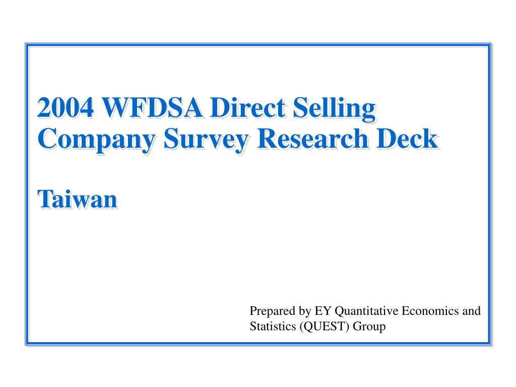 2004 wfdsa direct selling company survey research deck taiwan l.
