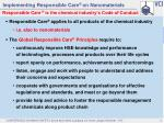 implementing responsible care on nanomaterials