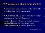 psa validation of a tumour marker