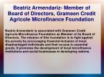 beatriz armendariz member of board of directors grameen credit agricole microfinance foundation
