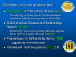 epidemiology s role at global level