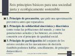 seis principios b sicos para una sociedad justa y ecol gicamente sostenible