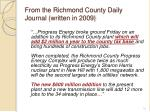 from the richmond county daily journal written in 2009