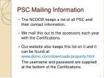 psc mailing information