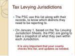 tax levying jurisdictions
