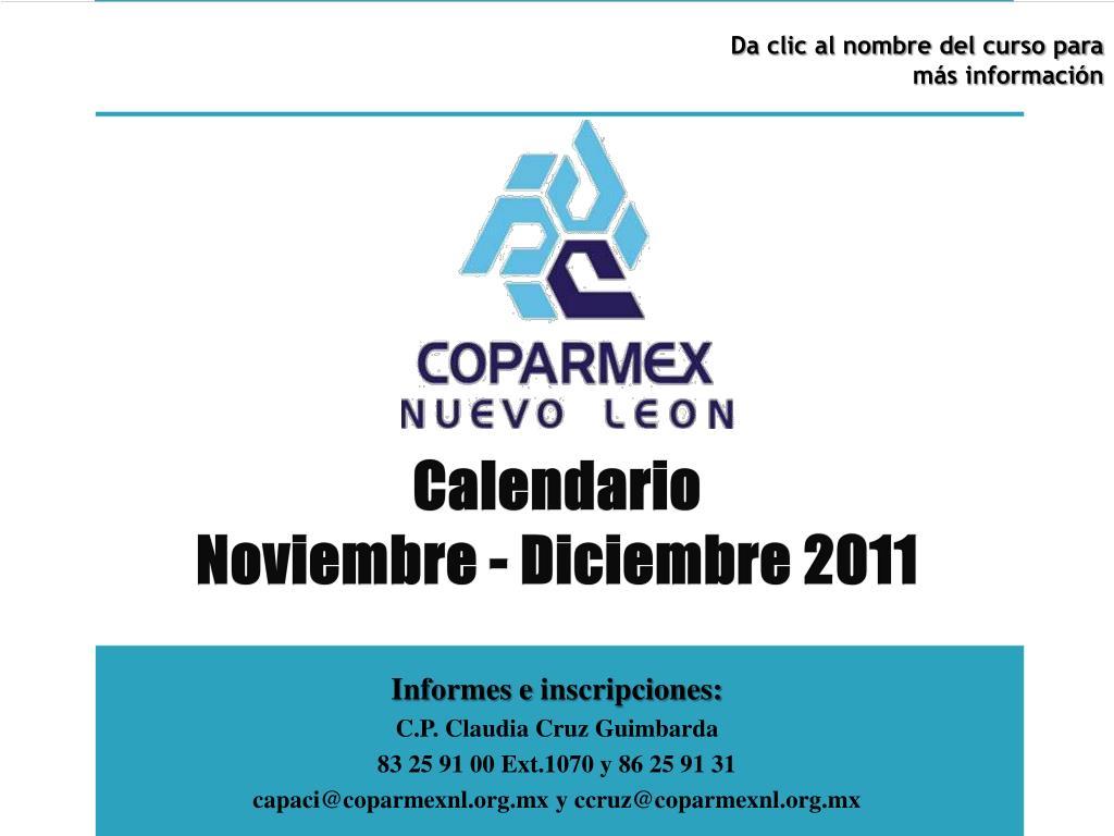 calendario noviembre diciembre 2011 l.