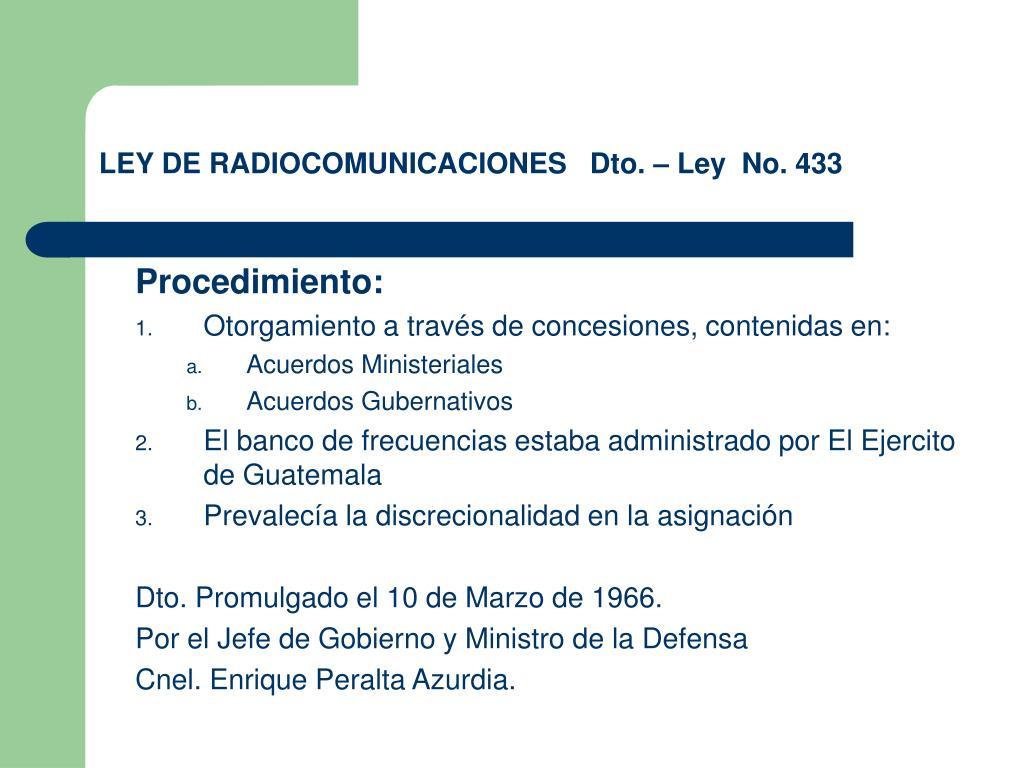 ley de radiocomunicaciones dto ley no 433 l.