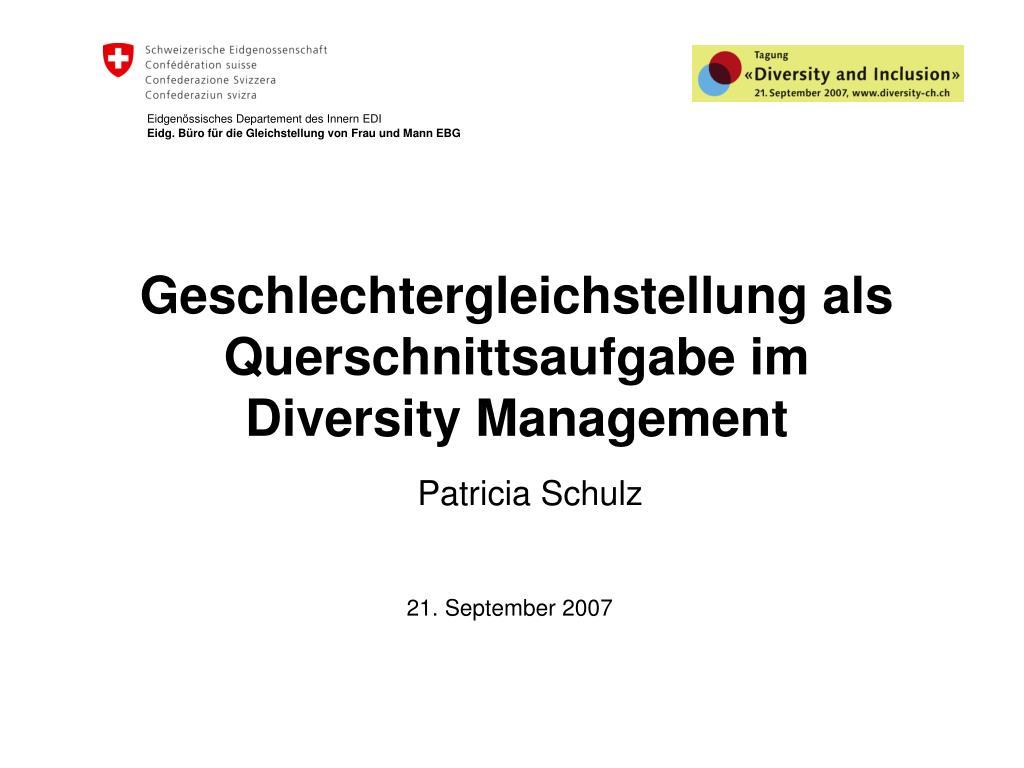 geschlechtergleichstellung als querschnittsaufgabe im diversity management l.