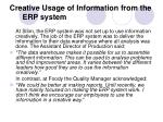creative usage of information from the erp system