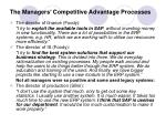 the managers competitive advantage processes