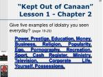 kept out of canaan lesson 1 chapter 229