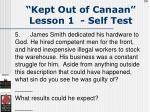 kept out of canaan lesson 1 self test54