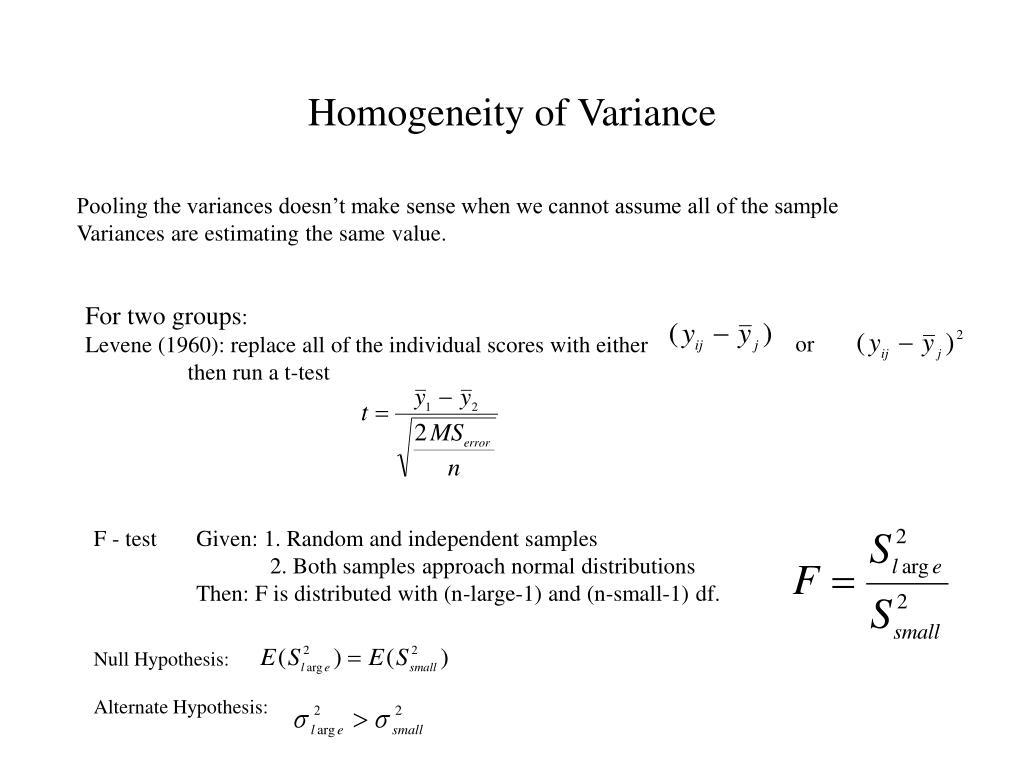 homogeneity of variance l.