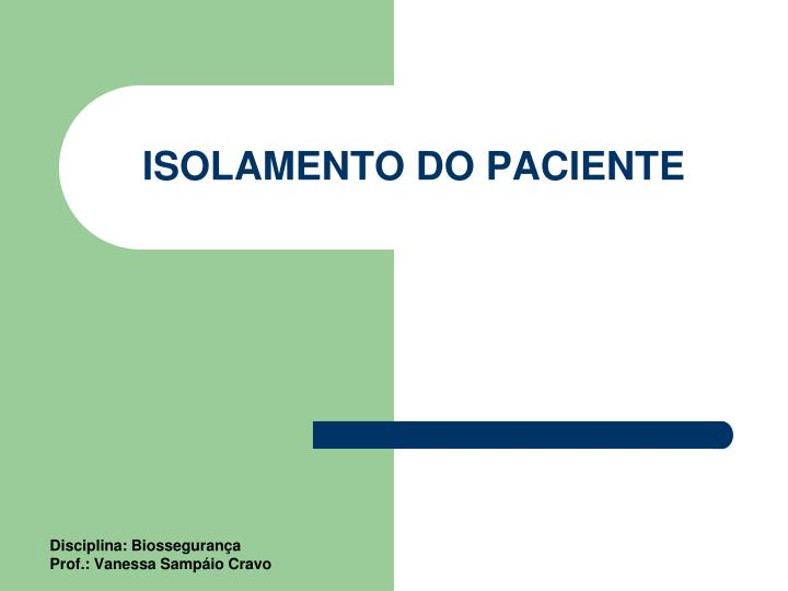 isolamento do paciente n.