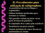 b procedimentos para utiliza o de refrigeradores