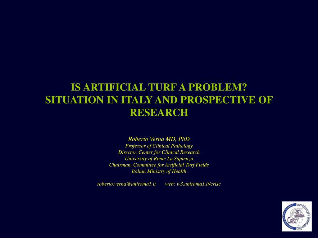 is artificial turf a problem situation in italy and prospective of research l.