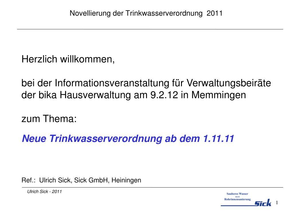 novellierung der trinkwasserverordnung 2011 l.