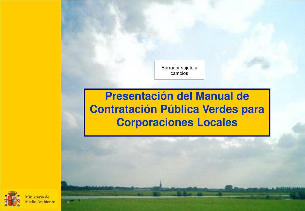 presentaci n del manual de contrataci n p blica verdes para corporaciones locales l.