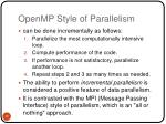 openmp style of parallelism