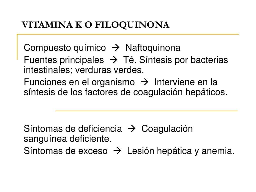 vitamina k o filoquinona l.