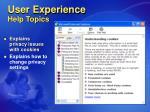 user experience help topics
