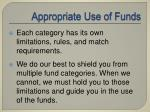 appropriate use of funds16