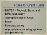 rules for grant funds