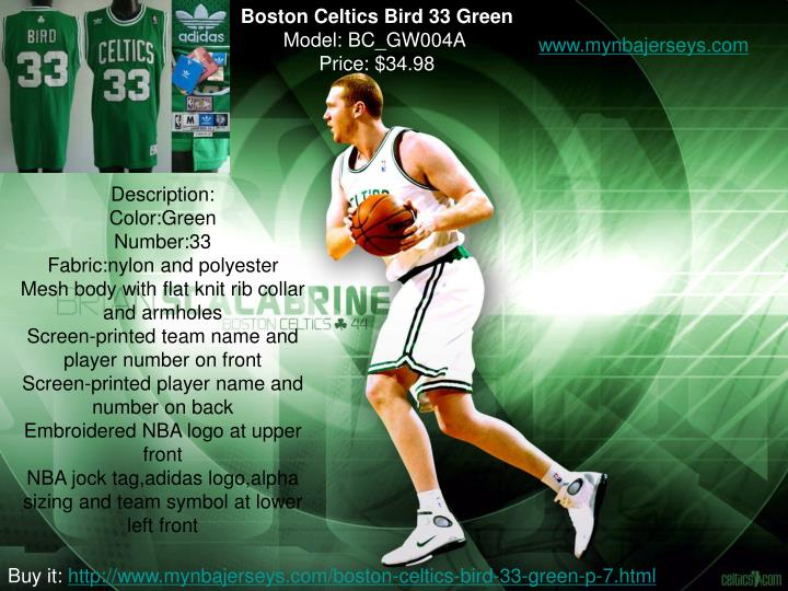 Boston Celtics Bird 33 Green