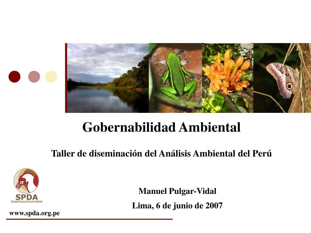 gobernabilidad ambiental taller de diseminaci n del an lisis ambiental del per l.