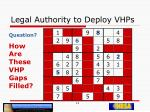legal authority to deploy vhps13