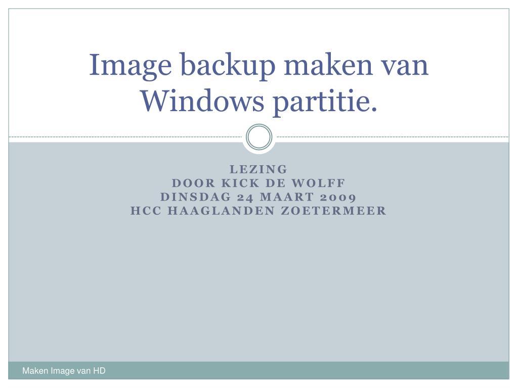 image backup maken van windows partitie l.