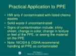 practical application to ppe