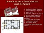 la domus divisa in diversi spazi con specifiche funzioni