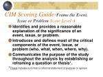 cim scoring guide frame the event issue or problem score level 4