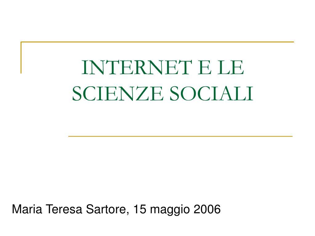 internet e le scienze sociali l.