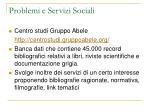 problemi e servizi sociali