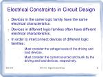 electrical constraints in circuit design