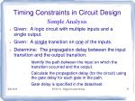timing constraints in circuit design