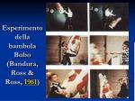 esperimento della bambola bobo bandura ross ross 1961