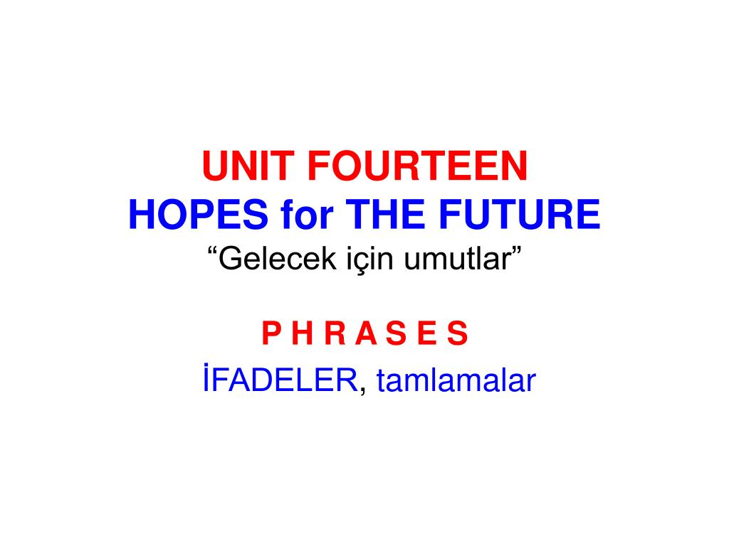 unit fourteen hopes for the future gelecek i in umutlar l.