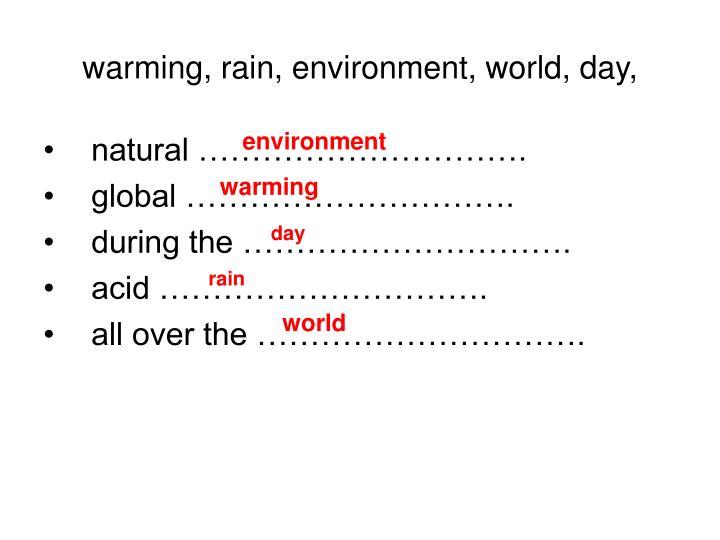 Warming rain environment world day