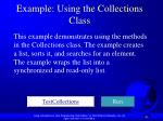 example using the collections class